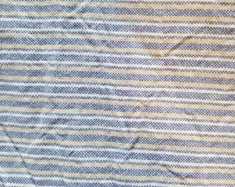 Cotton Chambray Blue Tan White Thin Stripe BTY