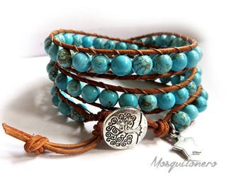 Handmade woman bracelet, leather and howling, Chan Luu style, Wrap bracelet, Mychau, 3 laps, stone, turquoise, for her