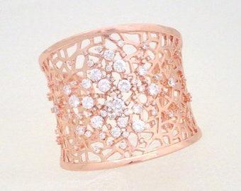 SALE Rose Gold Wedding Bracelet, Rose Gold Cuff Bracelet, Rose Gold Bridal bracelet, Statement bracelet, Bridesmaid bracelet, Wedding jewelr