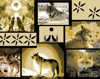 Wolf And Coyote Art, Southwestern Collage, Native American Totem Animal, Sepia Yellow Gray Home Decor, Wall Hanging, Giclee Print, 11 x 14