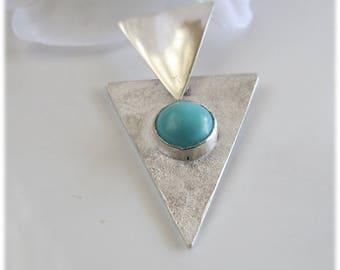 Handcrafted Turquoise Pendant on Sterling Silver Triangle Setting, December Birthstone