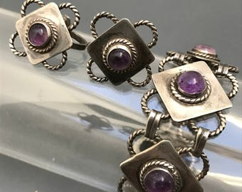 Vintage Mexican Mexico Silver Amethyst Bracelet . Screw-back earrings . Pre Eagle mark Jewelry