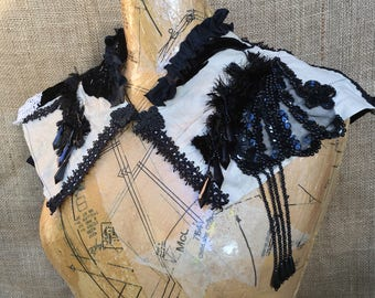 Leather and velvet capelet
