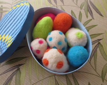 needle felted EASTER EGGS in glittery storage/show off box great gift for sugar free friend or just for yourself