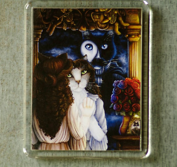 Phantom Cat Magnet, Tuxedo Cat Phantom of the Opera Fridge Magnet