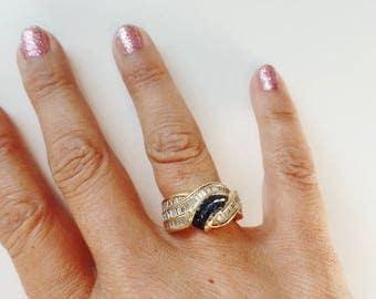 DIAMOND SAPPHIRE 18K Yellow Gold Vtg Ring Blue Clear Genuine Gemstone September April Birthstone Statement Band Estate Fine Jewelry