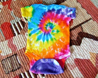 6m Tie Dye Baby Onesie - Rainbow Swirl - Ready to Ship
