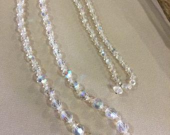 Vintage 1950's Aurora Borealis Glass Bead Necklace