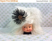 SPRING SALE Handmade Faux Fur Dolly Tissue Box Witchy Woman White Hair Vintage Materials Halloween Diva