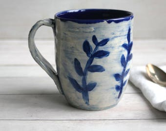 16 oz. Coffee Mug in Natural White and Navy Blue Glaze with Floral Motif Design Pottery Mug Made in USA Ready to Ship