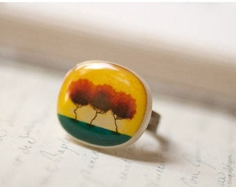 Mustard ring - Yellow Trees - Autumn jewelry (R014)