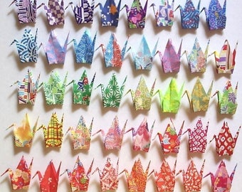 200 Small Origami Cranes Origami Paper Cranes Paper Crane Origami Crane - Made of 7.5cm 3 inches Japanese Print Chiyogami Paper