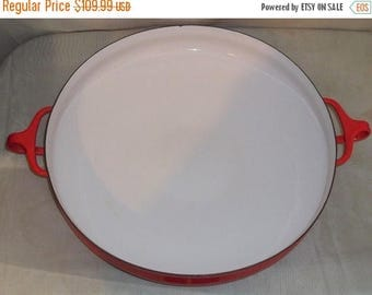 ON SALE Vintage Dansk Kobenstyle Chili Red Paella Buffet Server Large Skillet