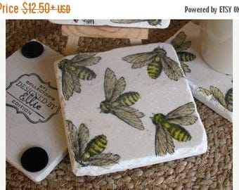 XMASINJULYSale Bumblebee Absorbent Tile Coasters - Natural History Home Decor - Bee Lover Gift