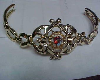 Vintage bracelet with Red Rhinestone focal stone