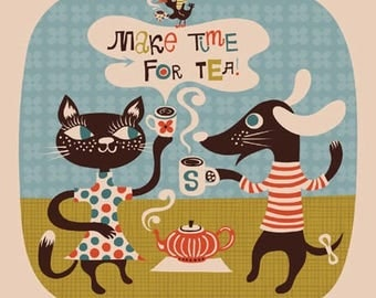 make time for tea... limited edition giclee print of an original illustration (8 x 8 in, 20 x 20 cm)