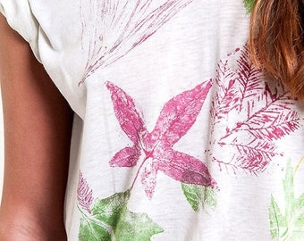 40% OFF CLEARANCE SALE Ivory Fall Leaves Printed 50/50 Tee
