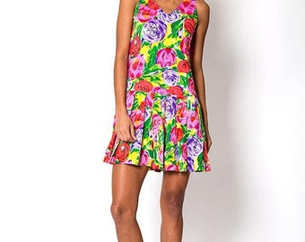 40% OFF CLEARANCE SALE The Vintage Colorful Floral Print Pleat Sleeveless Dress