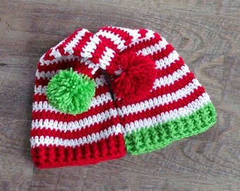 Twin Baby Hats, Twin Christmas Hat, Newborn Christmas Hat, Crochet Christmas Hat, Baby Christmas Hat, Crochet Elf Hat, Twin Photo Props