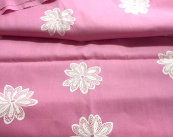 Medium pink 35 inch wide vintage cotton lace flower print fabric