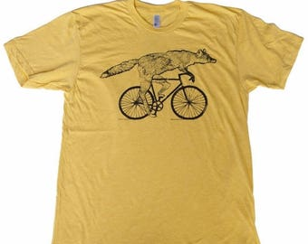 SUMMER SALE Fox on a Bicycle- Mens T Shirt, Unisex Tee, Cotton Tee, Handmade graphic tee, Bicycle shirt, Bike Tee, sizes xs-xxl