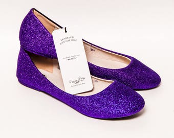 Ready 2 Ship - Size 11 - Glitter Passion Purple Ballet Flat Slipper Custom Shoes