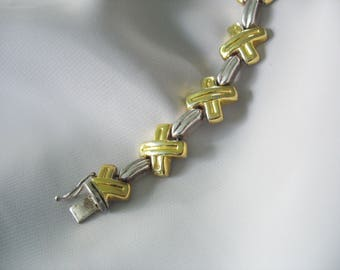 Sterling XO Link Bracelet, 10mm wide, Hugs and Kisses, Gold & Silver Design, Safety Latch, 925, Hidden Clasp