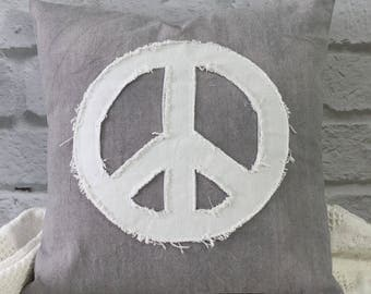 "18"" Applique Peace Sign Pillow Cover only or complete Pillow Boho Style Decorator Pillow"