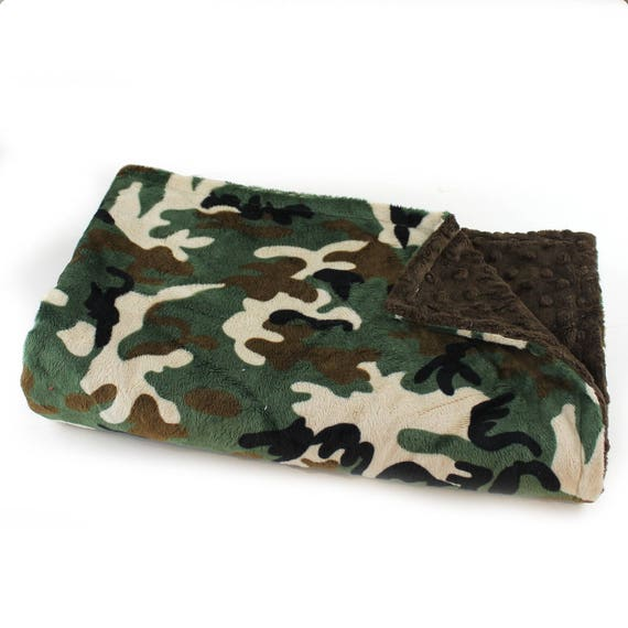 Camo Blanket / Minky Baby Blanket Boy, Brown Green Camouflage Blanket // 29 x 35 in Ready to Ship