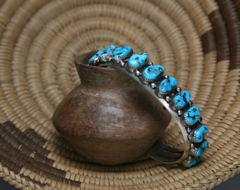 Vintage Sterling and Turquoise Cuff Bracelet - Southwestern Design - Navajo