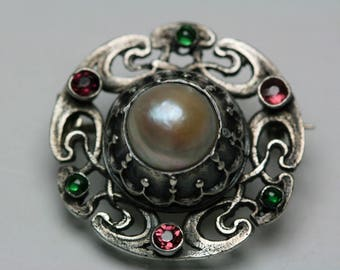 Vintage Silver ,Pearl and Tourmaline Brooch