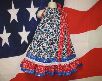 SALE Girls Dress 4T/5 4th of July Stars Stripe Pillowcase Dress, Sundress