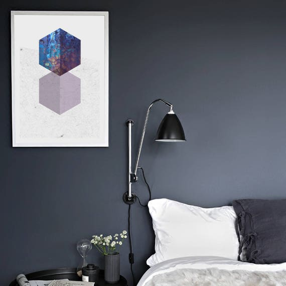 ROUGH DIAMONDS // poster, Abstract art, 18x24, minimalist art print, geometric, mid century, Scandinavian style, purple, diamond, 90s