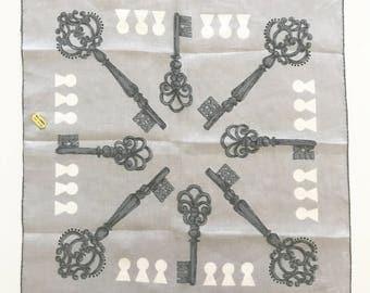 Vintage Handkerchief Skeleton Keys Keyholes Erin O'Dell Designer NOS New Old Stock Franshaw