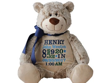 Personalized baby gifts custom embroidery by reneesembroidery personalized stuffed animal stuffed bear benjamin buddy bear embroider buddy classic bear negle Choice Image