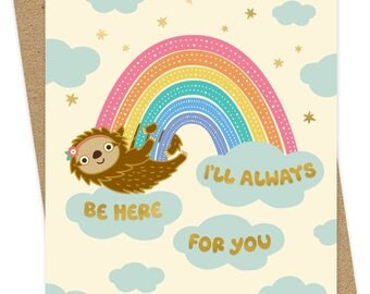 Here Always - Valentine's Day Card - Thinking of You Card - Solid gold foil-stamped love card - Sloth Lover - OC1552