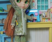 Army green Butterfly Camouflage Camo Hooded Jacket Coat for Blythe Doll
