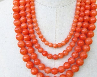 XMAS in JULY SALE Chunky Orange Multi Strand Graduated Beaded Layered Necklace, Statement