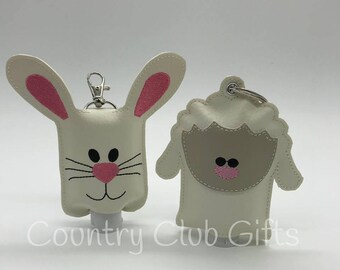 Bunny Hand sanitizer holder, sanitizer key chain, sanitizer holder for backpack, key fob holder, Lamb sanitizer holder, Easter Basket, bunny