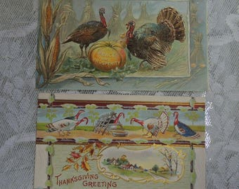 Set Of Two Vintage Thanksgiving Postcards - FREE Shipping