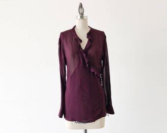 Vintage 1990s DKNY Long Sleeve Semi Sheer Purple Silk Ruffle Blouse - M