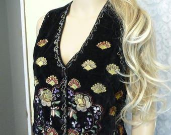 Vintage Womens Vest, Size Small, Vintage Vest, Black Velvet Vest, Colorful Embroidery, New Dimensions, Lined Vest,  Vintage Clothing, Cute