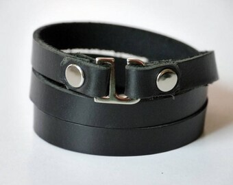 Leather Wrap Bracelet Wrap Bracelet Leather Cuff Bracelet Leather Bracelet in Black Color Hook Clasp Silver Tone