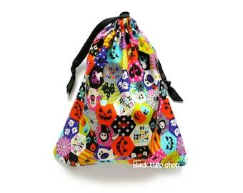 Halloween Treat Bag Pouch Drawstring Patchwork Ghost Skull Spider Pumpkin Jack O Lantern Tote
