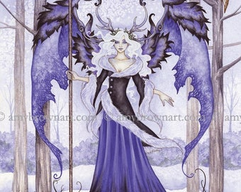 5x7 Winter Guardian fairy PRINT by Amy Brown