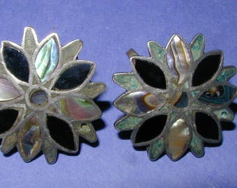 Vintage Mexican TAXCO Sterling Abalone and Onyx Earrings Signed
