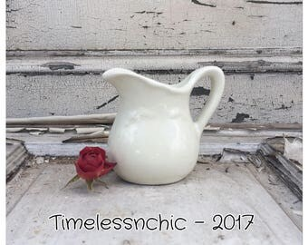 Ironstone Pitcher - Vintage Pitcher - Ceramic Pitcher - Shabby Chic Decor - White Pitcher - Pitcher Vase - Small Pitcher - Antique Pitcher
