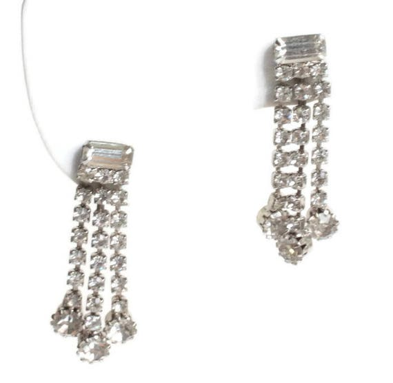 Clear Rhinestone Crystal Dangle Earrings Three Strands Baguettes Chatons Vintage