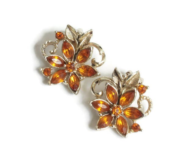 Topaz Amber Rhinestone Earrings Floral Design Clip On Style Vintage
