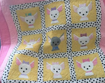 NEW!! * CHIHUAHUA* Dog Doggie Puppy, Baby/Lap Quilt, Soft Flannel Backing!